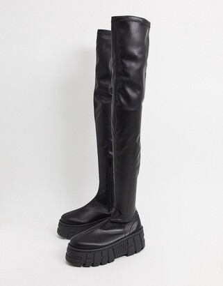 ASOS DESIGN Kellie chunky over the knee boots in black