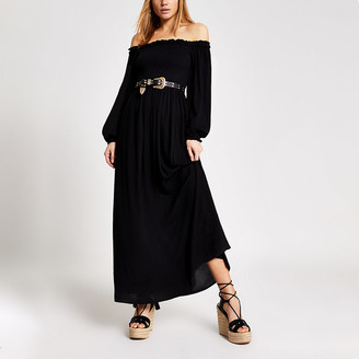 River Island Black long sleeve shirred bardot maxi dress