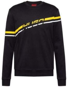 HUGO Logo sweatshirt in interlock cotton with printed stripe