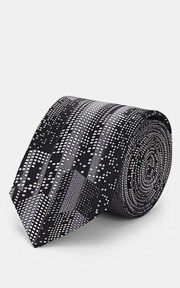 Lanvin Men's Cityscape-Print Silk Necktie - Black