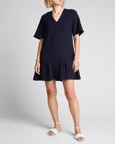Thumbnail for your product : Lela Rose Wool Crepe Flounce-Hem Tunic Dress