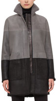 Akris Punto Reversible Colorblock Shearling Fur-Lined Coat, Cliff