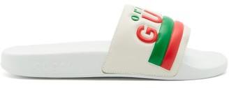 Gucci Original Logo Leather And Rubber Slides - White Multi