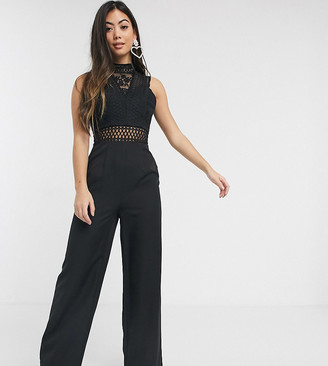 Chi Chi London cutout high neck jumpsuit in black
