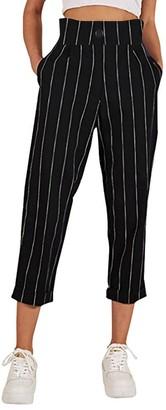 "TIFIY Women Fashion Casual Striped Button Slim Straight Leg Pants Trouser Leggings with Pockets (M(Waist 28.3"")"