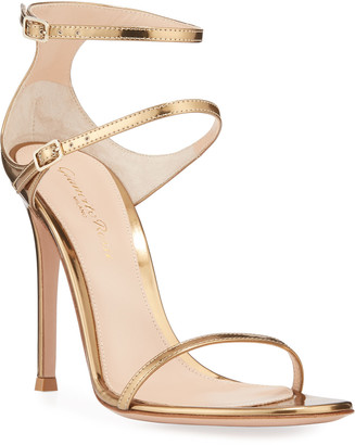 Gianvito Rossi Metallic Triple-Strap High-Heel Sandals