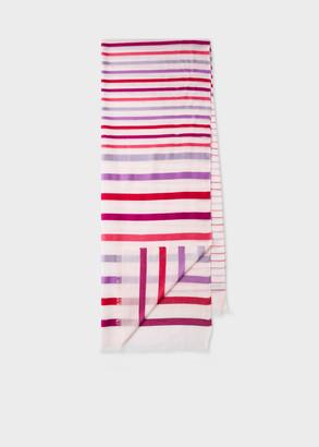 Women's Light Pink Stripe Semi-Sheer Cotton-Blend Scarf