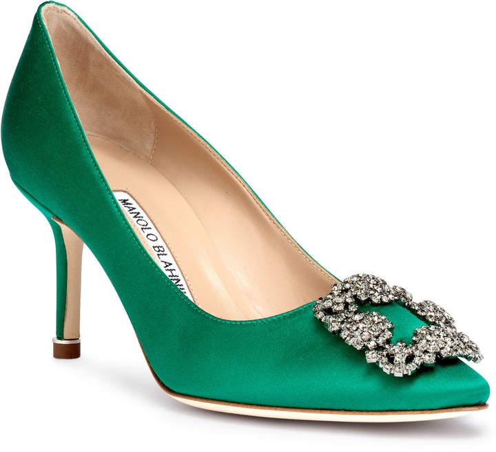 Manolo Blahnik Hangisi 70 emerald satin pumps