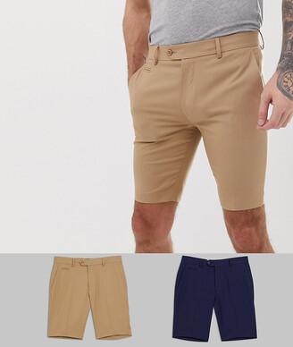 Asos Design DESIGN 2 pack slim smart shorts in stone and navy-Multi