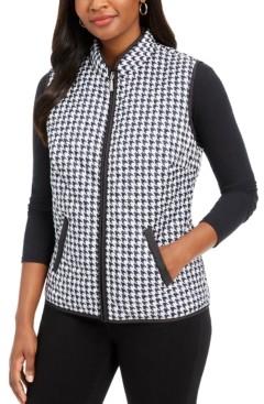 Karen Scott Petite Houndstooth-Print Puffer Vest, Created for Macy's