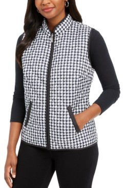 Karen Scott Plus Size Houndstooth-Print Puffer Vest, Created for Macy's