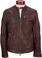 John Varvatos Leather Racer Full-Zip Jacket