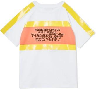 BURBERRY KIDS tape-detail address-print T-shirt