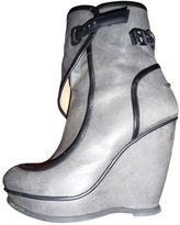 Balenciaga Grey Low Boots With Black Accents