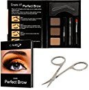 Cameo Perfect Brow Eyebrow Makeup Kit - Premium Dark Brown Eyebrow Color With FREE Eyebrow Grooming Scissors - Ideal Eyebrow Hair Trimmer