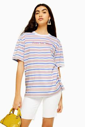 Womens Just Be Nice Stripe T-Shirt By Tee & Cake - Multi