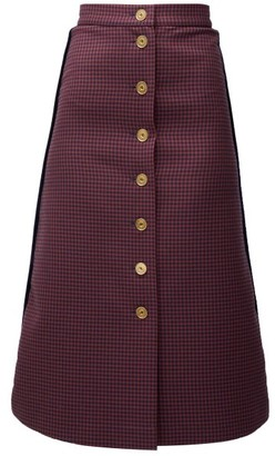Fendi A-line Gingham Wool Midi Skirt - Red Multi
