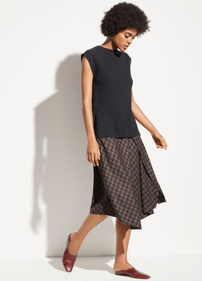 Vince Check Plaid Wool Skirt