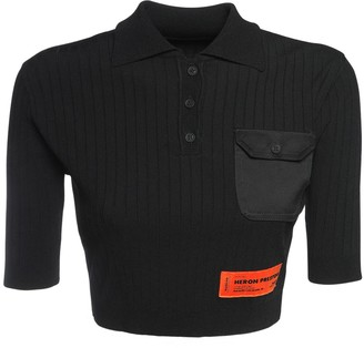 Heron Preston Cropped Knit Polo Top