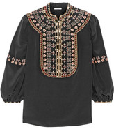 Vilshenko Lucy Embroidered Washed-silk Blouse - Black