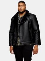TopmanTopman BIG & TALL Black Shearling Biker Jacket*
