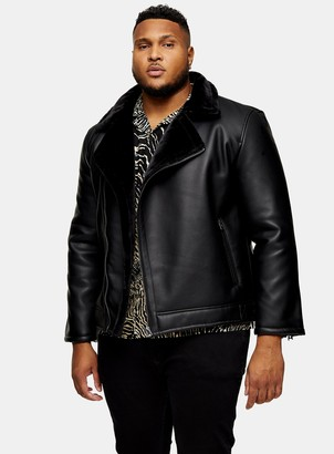 Topman BIG & TALL Black Shearling Biker Jacket*