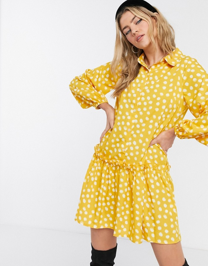 Thumbnail for your product : Qed London shirt dress with tiered hem in mustard polkadot