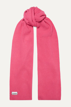 Ganni Ribbed Wool-blend Scarf - Pink
