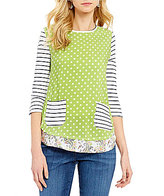Westbound Petite Multi Media Button-3/4 Sleeve Tunic Top