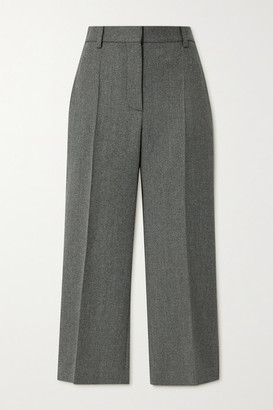 Victoria Beckham Cropped Wool Flared Pants - Forest green