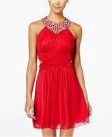 B. Darlin Juniors' Rhinestone Halter A-Line Dress
