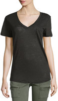 Dex V-Neck Linen Tee, Black