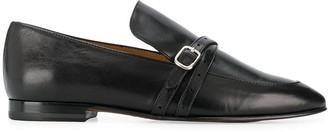 J&M Davidson Buckle Cross Strap Loafers