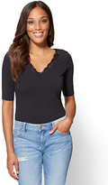 New York & Co. Tee Luxe - Lace-Trim V-Neck Tee