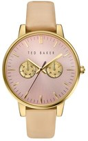 Ted Baker 'Dress Sport' Multifunction Leather Strap Watch, 40mm