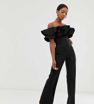 True Violet exclusive exaggerated frill bandeau jumpsuit in black