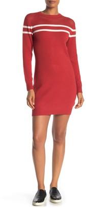 Angie Mixed Texture Stripe Print Sweater Dress