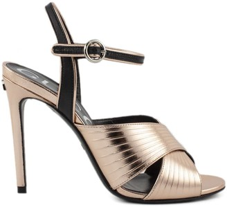 Gucci Salmon Metallic Leather Sandals