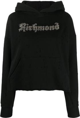 John Richmond Cropped Embellished Logo Hoodie