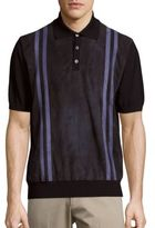 Brioni Striped Leather & Wool Polo