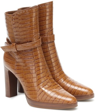 Max Mara Adee croc-effect leather ankle boots