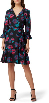 Tahari Floral Long Sleeve Georgette Faux Wrap Dress
