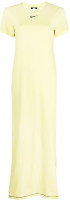 Nike Logo-Embroidered Short-Sleeved Maxi Dress