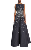 Oscar de la Renta Metallic-Embroidered V-Back Ball Gown, Blue/Silver