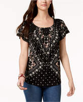 Style&Co. Style & Co Petite Pleated Scoop-Neck Top, Created for Macy's
