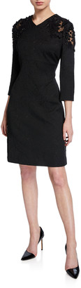Escada Delphine Lace-Shoulder 3/4-Sleeve Dress