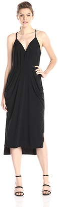 BCBGeneration Women's Sleeveless V-Neck Faux Wrap Midi Dress