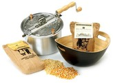 Wabash Valley Farms Whirley-Pop Original Stovetop Popcorn Popper with Handcrafted Bamboo Bowl and Amish County Burlap Bag Popcorn - Silver/Charcoal/Yellow/White
