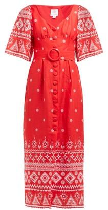 Gül Hürgel Geometric-print Linen Midi Dress - Red Print
