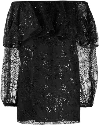 Rotate by Birger Christensen Off-The-Shoulder Lace Dress